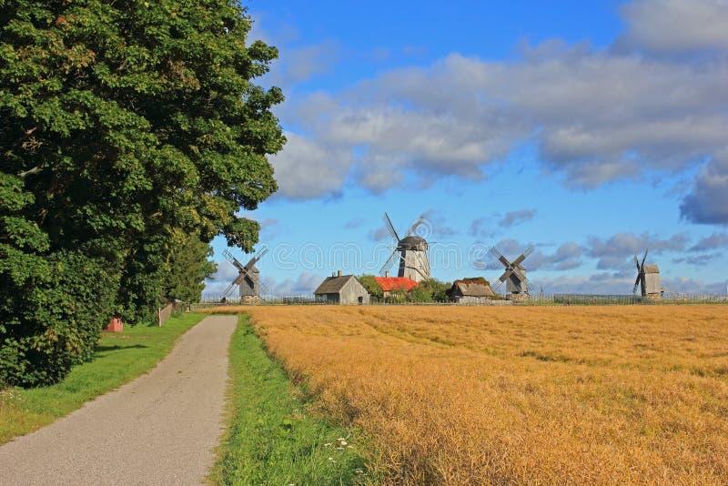 Estrada secundária e moinhos de vento fotografia de stock royalty free