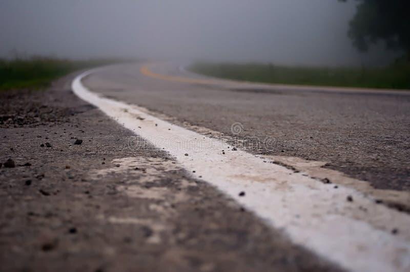 Estrada secundária nevoenta de enrolamento fotos de stock