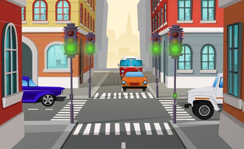 Estrada transversaa da cidade dos desenhos animados do vetor com sinais ilustração do vetor