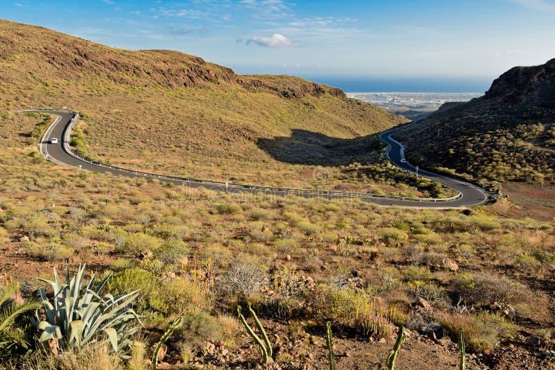 Estrada Twisty a Maspalomas Gran Canaria imagens de stock royalty free