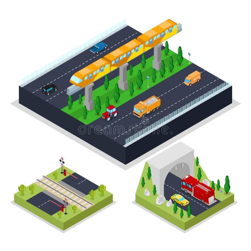 Estrada urbana isométrica com estrada de ferro moderna Cidade trraffic ilustração royalty free