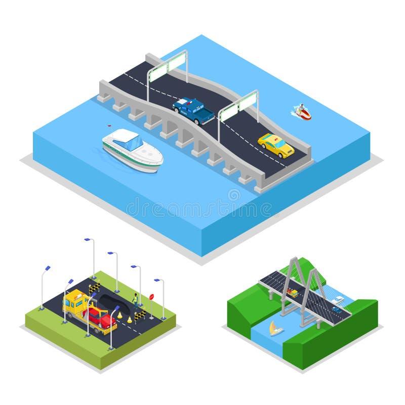 Estrada urbana isométrica da ponte com carros e barco Cidade trraffic ilustração stock