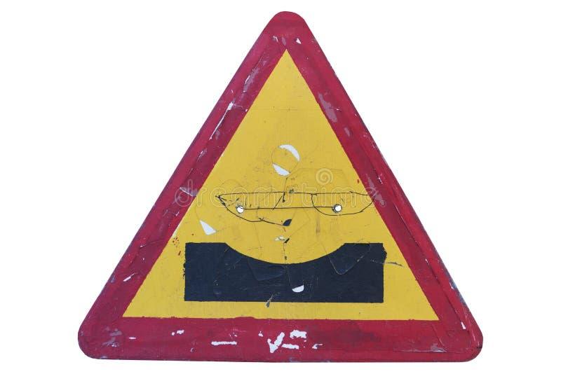 A estrada velha refez o ` do caldeirão do ` do sinal isolado no branco ilustração royalty free