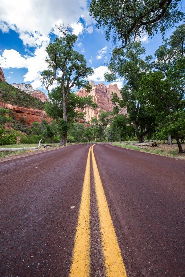 Estrada vermelha típica em Zion National Park, Utá, EUA foto de stock