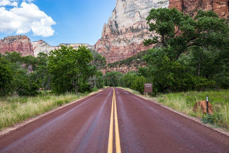 Estrada vermelha típica em Zion National Park, Utá, EUA fotografia de stock