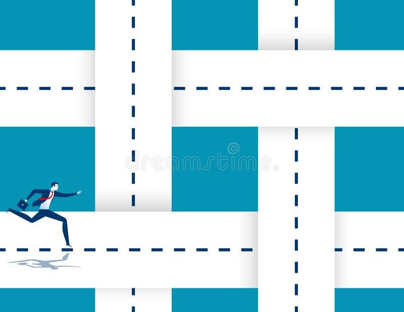 Estradas de entrelaçamento de corrida de um homem de negócios Ilustração do sucesso comercial do conceito Personagem de banda des ilustração royalty free