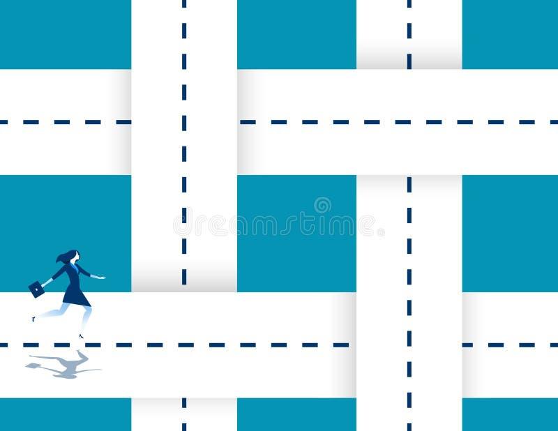 Estradas de entrelaçamento de corrida de uma mulher de negócios Ilustração do sucesso comercial do conceito Personagem de banda d ilustração stock