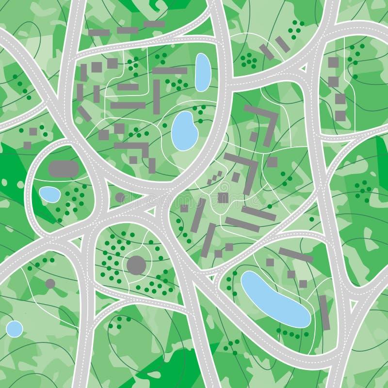 Estradas do mapa (vetor sem emenda wal ilustração stock