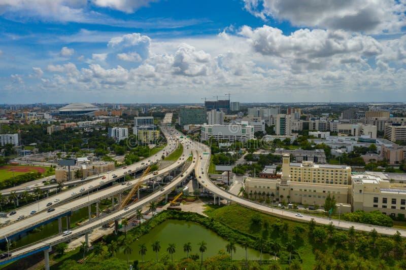 Estradas e hospitais aéreos de Miami foto de stock