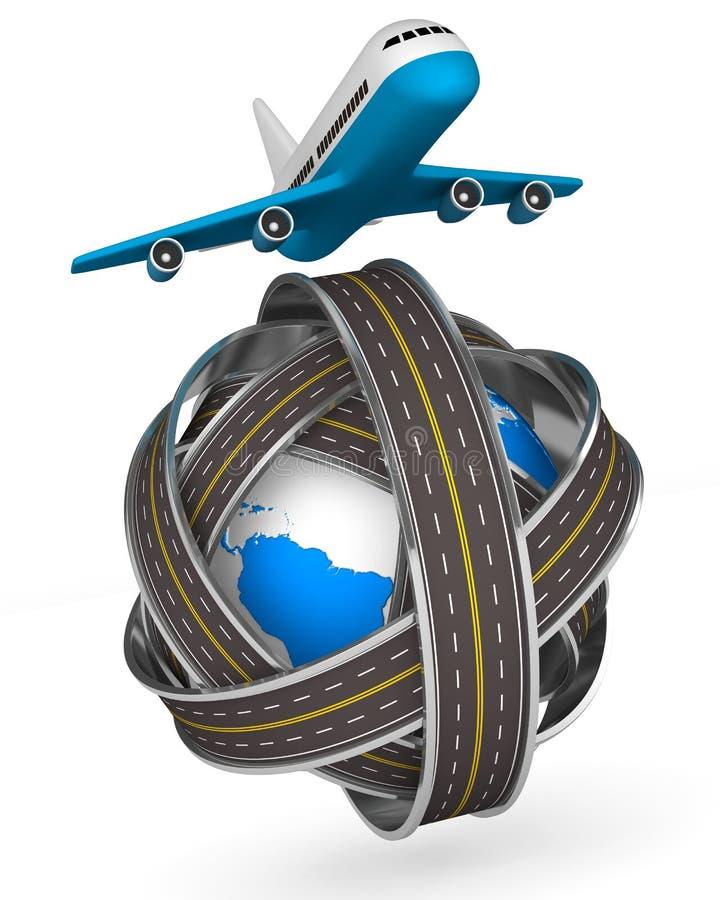 Estradas globo e avião redondos no fundo branco ilustração royalty free
