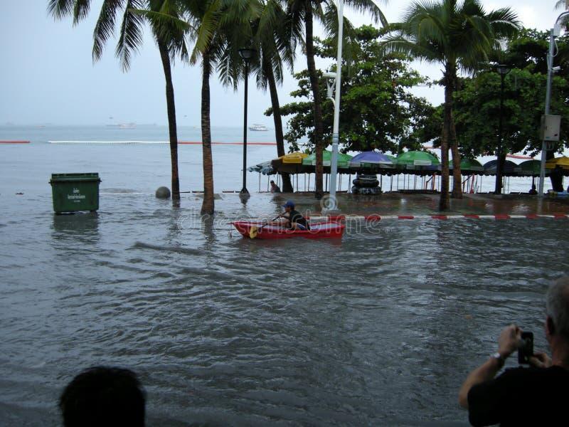 Estradas inundadas, Pattaya fotografia de stock royalty free