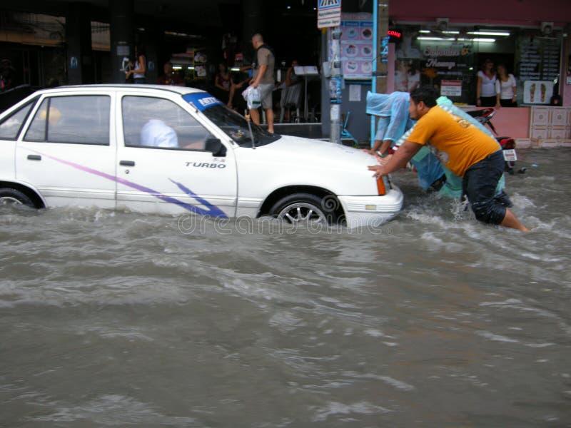 Estradas inundadas, Pattaya fotos de stock royalty free