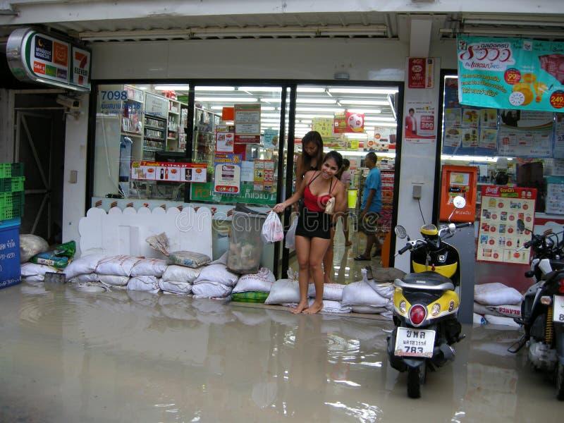 Estradas inundadas, Pattaya fotografia de stock