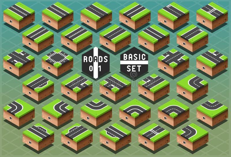 Estradas isométricas no terreno verde ilustração do vetor