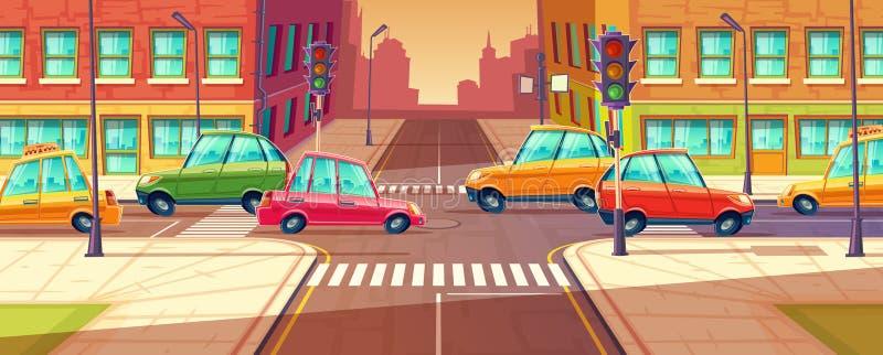 Estradas transversaas da cidade, engarrafamento, transporte que move-se, navegação dos veículos Ilustração do vetor ilustração royalty free