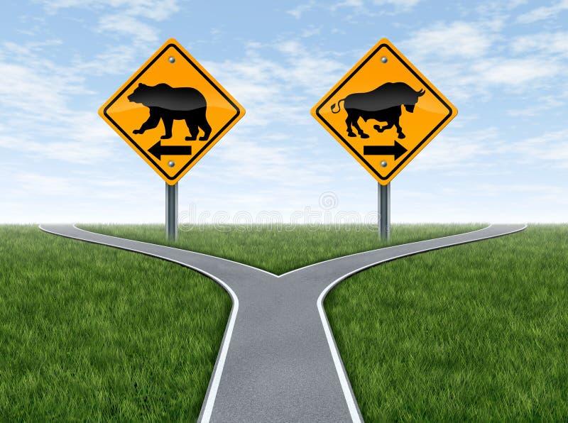 Estradas transversaas do mercado de valores de acção com sinais de Bull e de urso ilustração do vetor