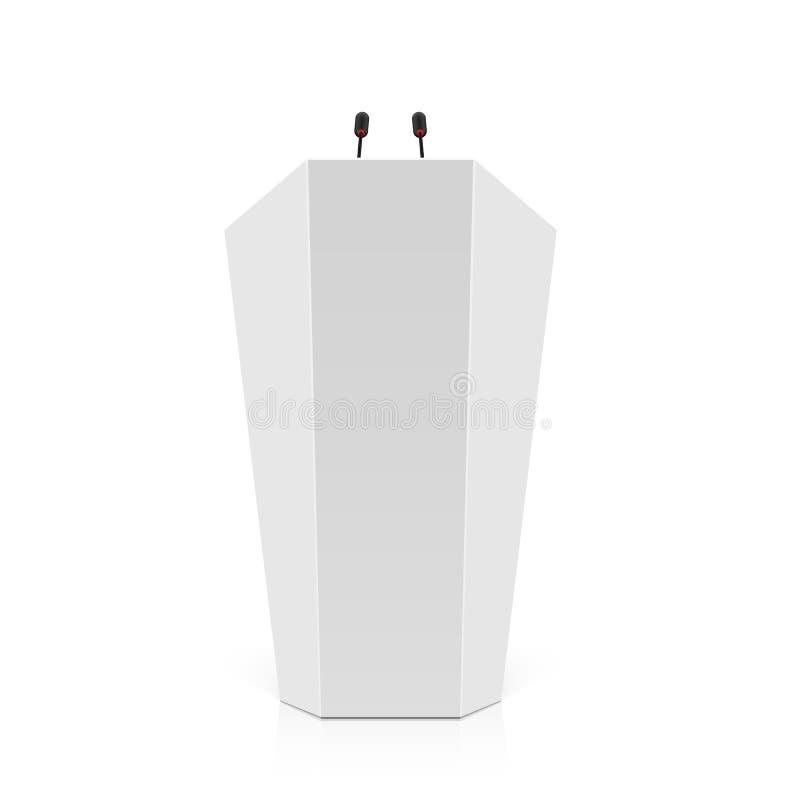 Estrade blanche, podium, tribune avec des microphones illustration libre de droits