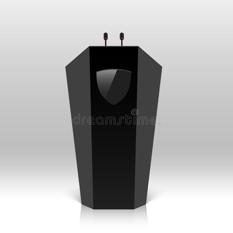Estrade, podium, tribune avec des microphones illustration libre de droits