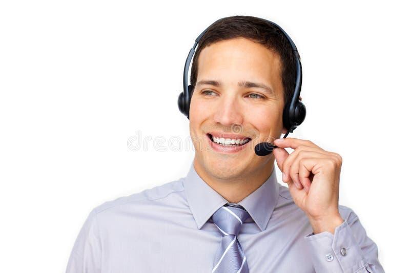 Estrallando el agente del servicio de atención al cliente con el receptor de cabeza encendido imagenes de archivo