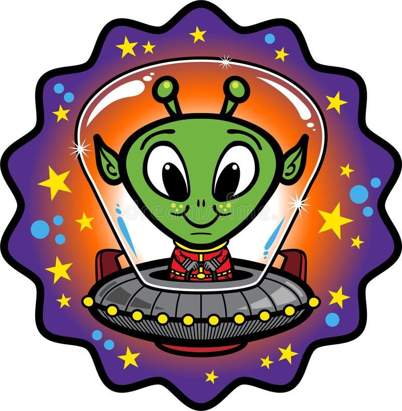 Estrangeiro amigável no UFO ilustração royalty free