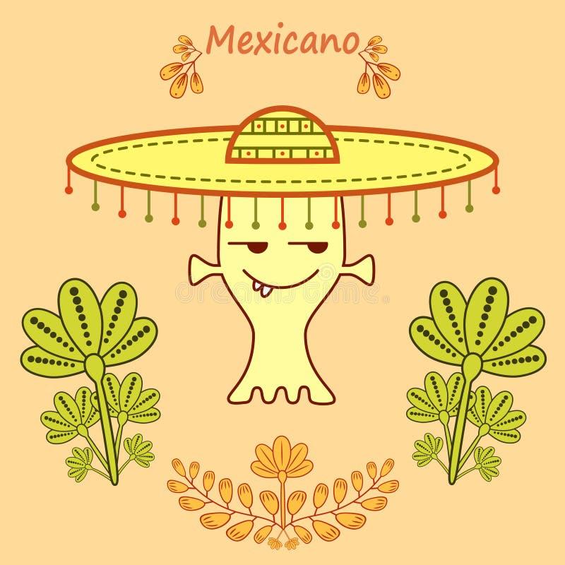 Estrangeiro bonito dos desenhos animados no estilo mexicano com um chapéu grande do mariachi ilustração do vetor