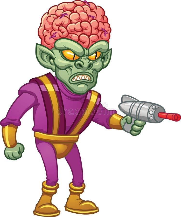 Estrangeiro do cérebro dos desenhos animados ilustração royalty free
