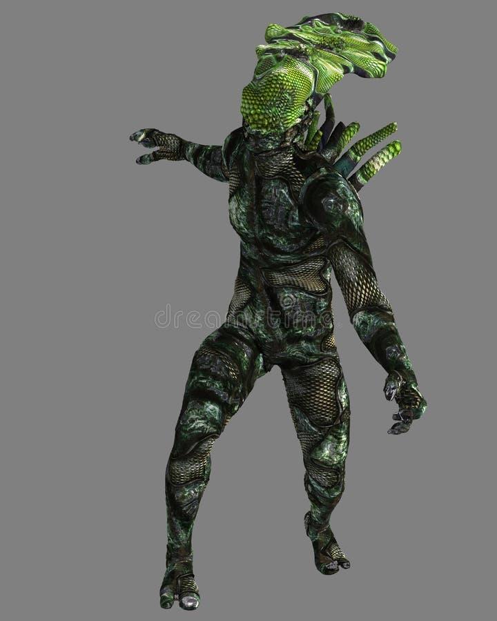 Estrangeiro do Reptilian, 3D CG ilustração do vetor
