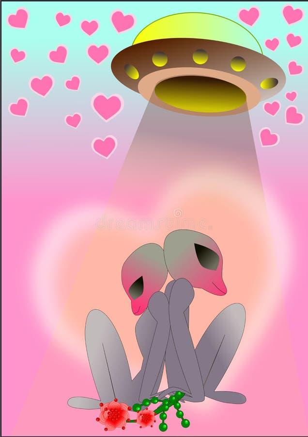 Estrangeiro do UFO na ilustração do fundo do amor ilustração stock
