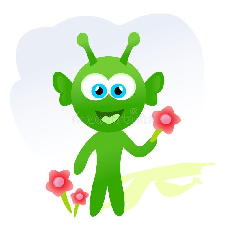 Estrangeiro dos desenhos animados com flores ilustração do vetor