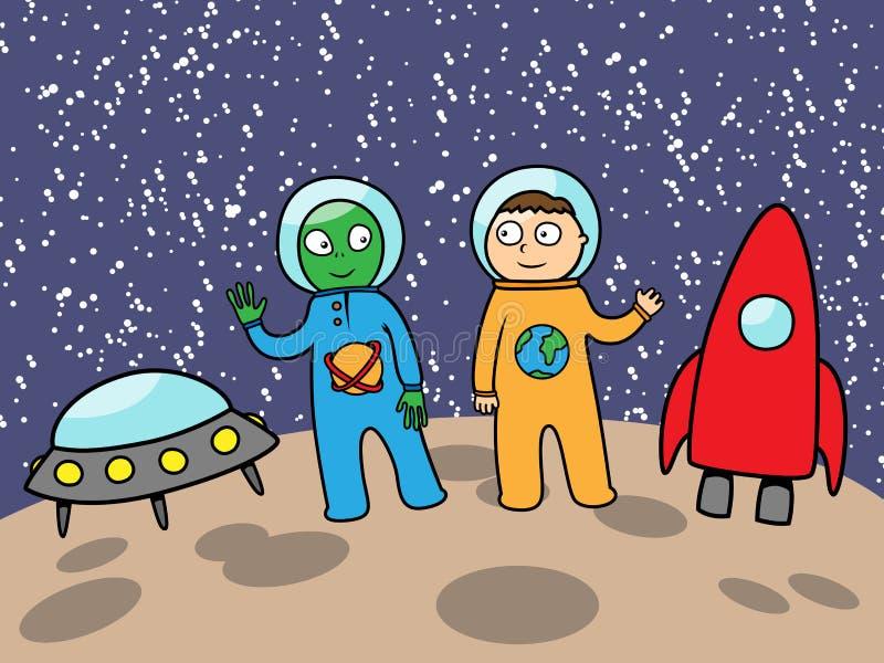 Estrangeiro e astronauta no espaço na lua ilustração royalty free