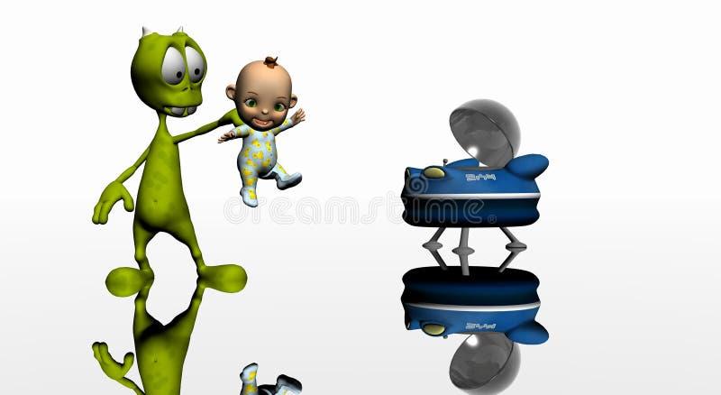 Estrangeiro e bebê dos desenhos animados ilustração do vetor