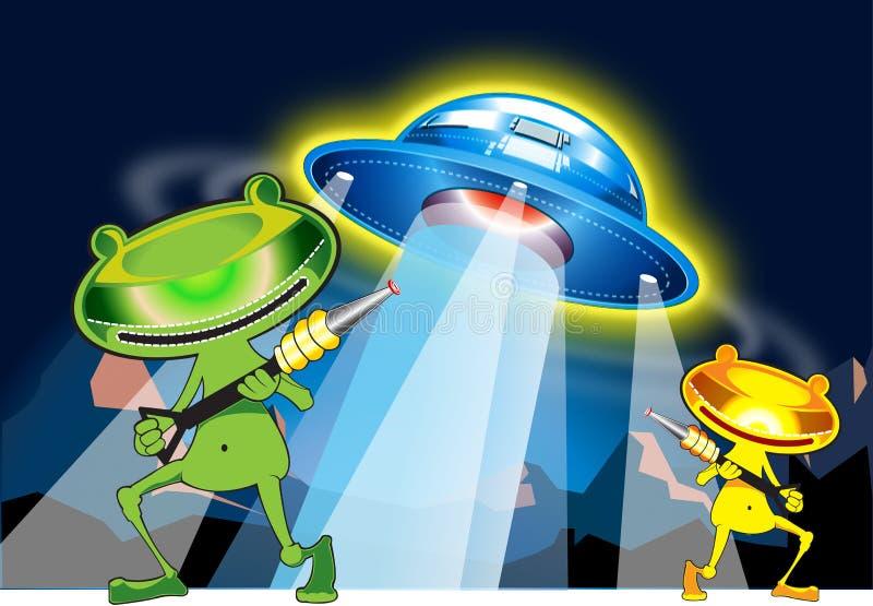 Estrangeiro e UFO ilustração royalty free