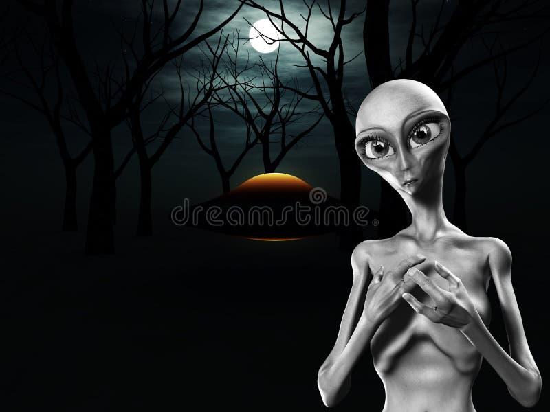 Estrangeiro e UFO na floresta ilustração stock