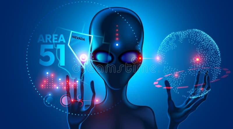 estrangeiro Impacto do UFO área 51 em Nevada EUA ilustração do vetor