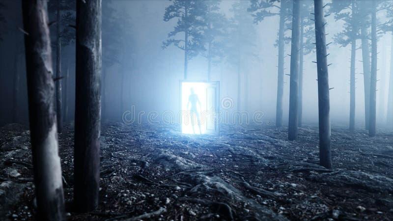 Estrangeiro na porta do portal da luz da floresta da noite da névoa Conceito do UFO rendição 3d ilustração do vetor