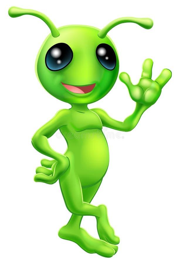 Estrangeiro pequeno do homem verde ilustração do vetor