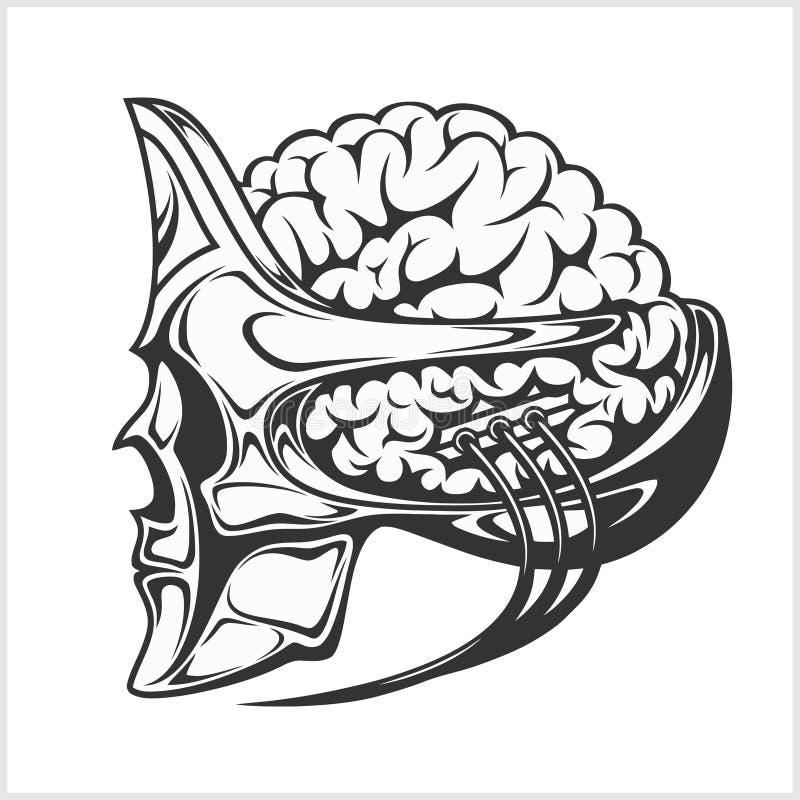 Estrangeiro robótico com um cérebro grande no capacete do crânio ilustração royalty free