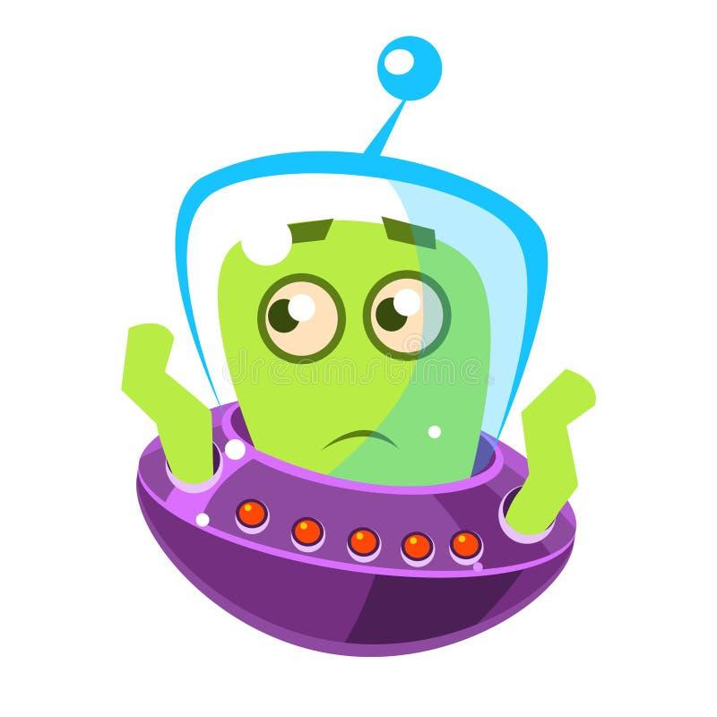 Estrangeiro verde embaraçado, monstro bonito dos desenhos animados Caráter colorido do vetor ilustração royalty free
