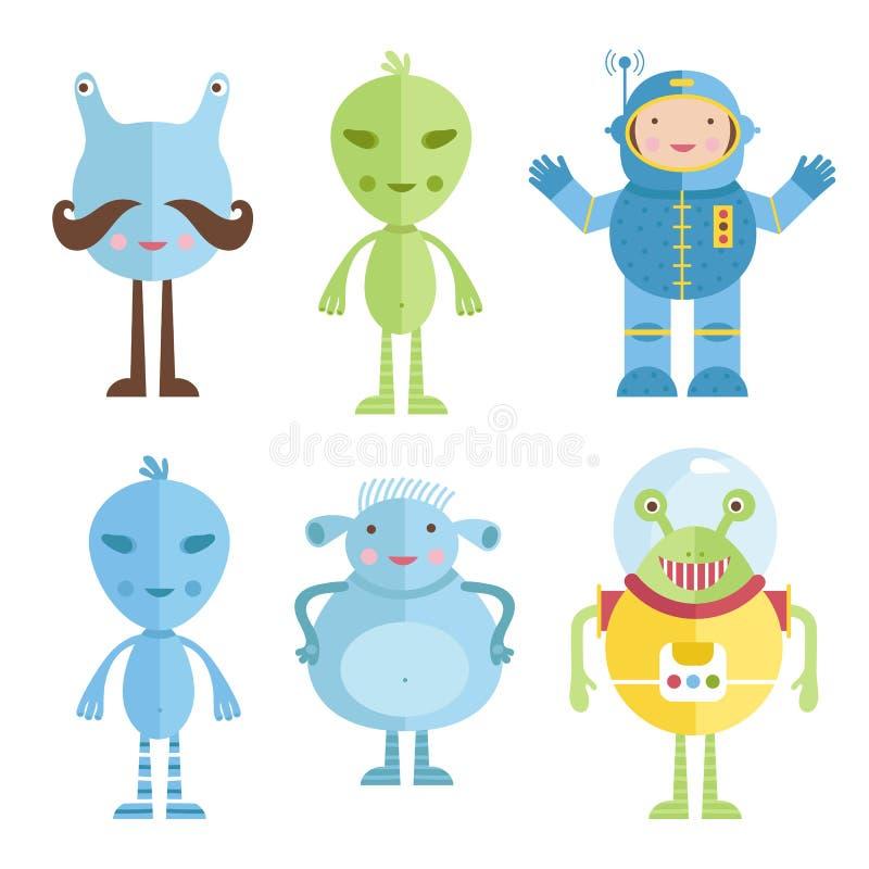 Estrangeiros e astronauta Colorful Icons no estilo dos desenhos animados ilustração do vetor