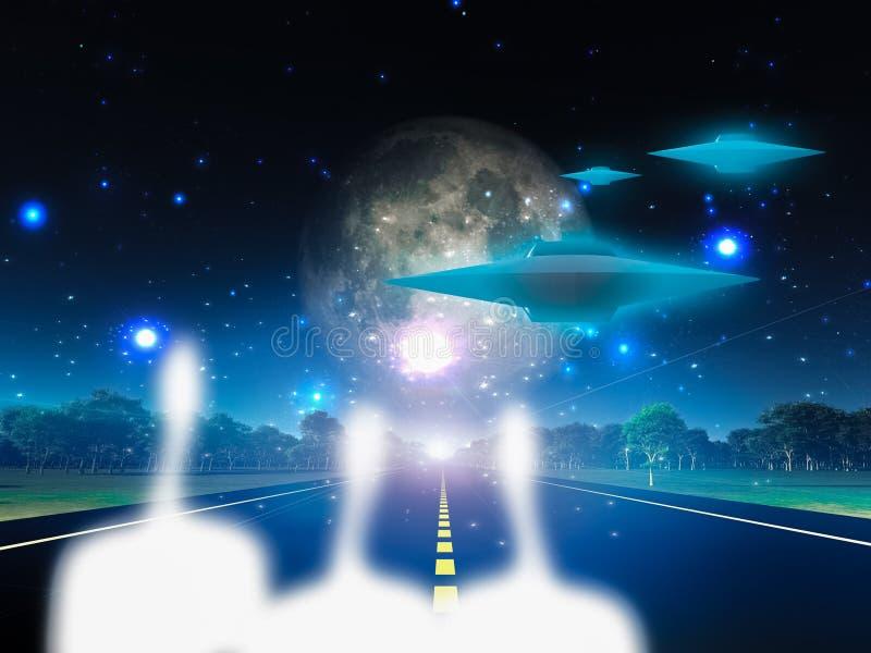 Estrangeiros e sua nave espacial ilustração do vetor