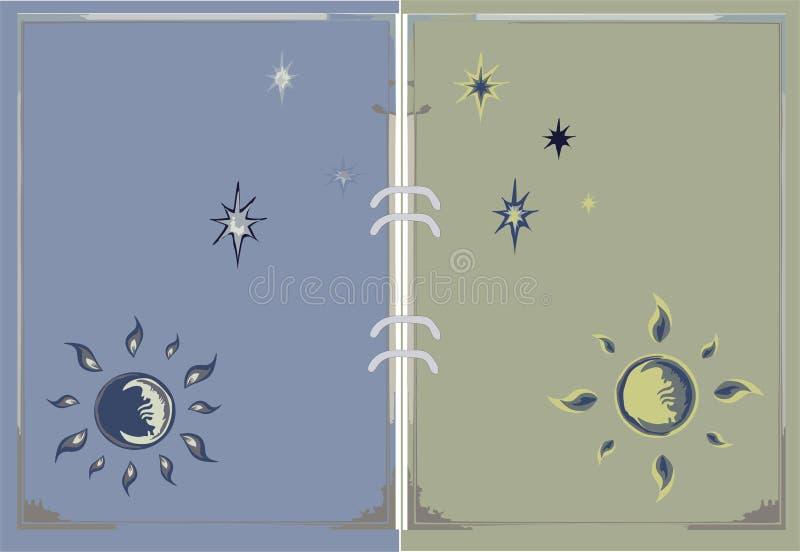 Estrarre il sole, la luna e le stelle per la pagina del libro illustrazione vettoriale