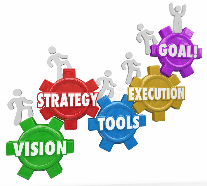 A estratégia da visão utiliza ferramentas os povos do objetivo da execução que aumentam ao sucesso ilustração stock