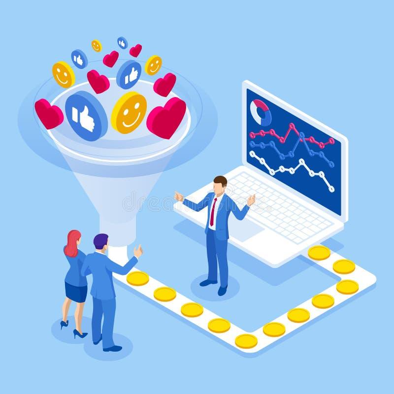 Estratégia das taxas de conversão de aumento isométrico Monetização de dados, monetização de serviços de dados, venda de análises ilustração stock