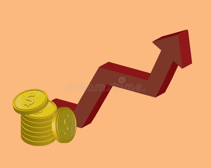 Estratégia de investimento a longo prazo, crescimento da renda, rendimento do negócio do impulso, retorno de investimento, angari ilustração royalty free