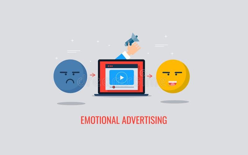 Estratégia de marketing de Digitas compatível com comportamento do cliente, emoção, atividade Bandeira lisa do vetor do projeto ilustração do vetor