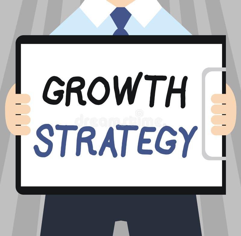 Estratégia do crescimento do texto da escrita da palavra O conceito do negócio para a estratégia visou ganhar a parte de mercado  ilustração do vetor