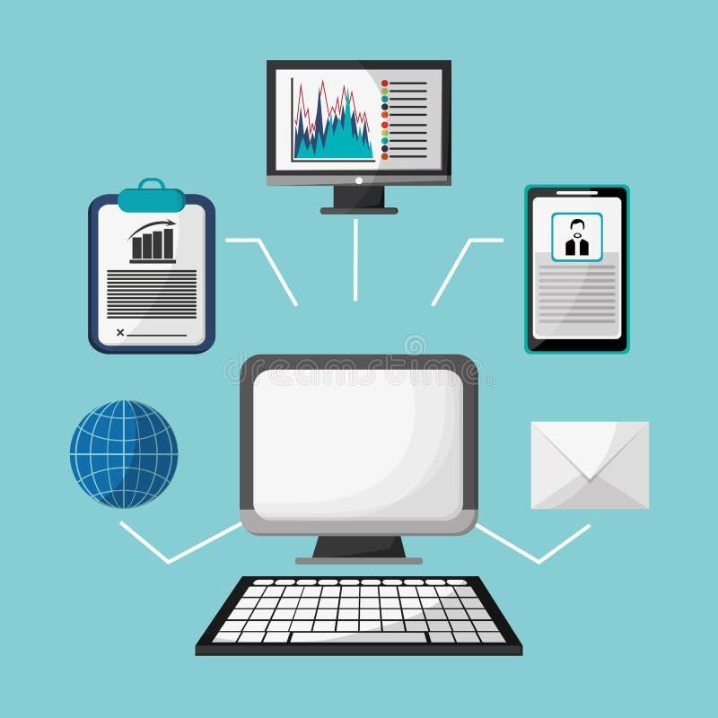 Estratégia do perfil do globo do email de Internet do computador ilustração do vetor