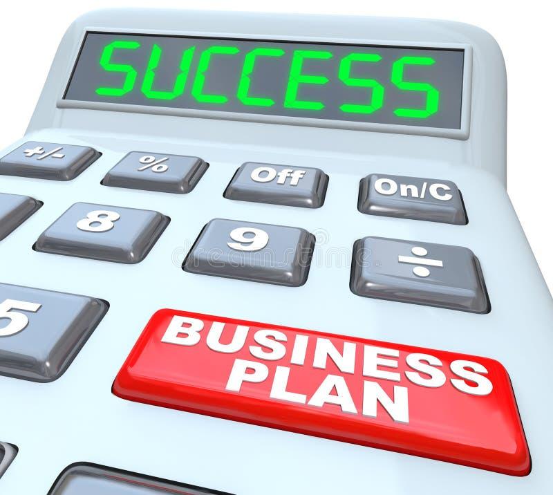 A estratégia do sucesso do plano de negócios exprime a calculadora ilustração stock