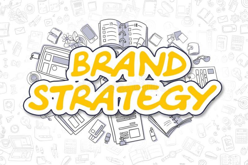 Estratégia do tipo - texto amarelo dos desenhos animados Conceito do negócio ilustração royalty free
