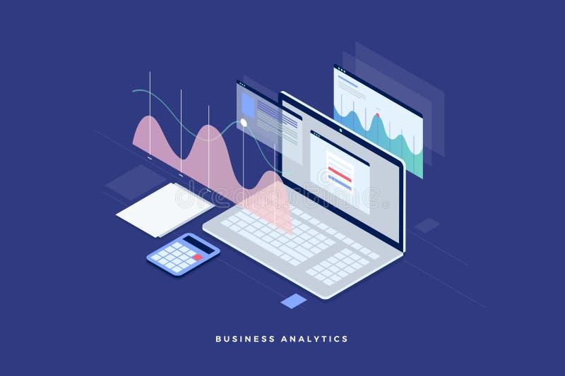 estratégia empresarial do conceito Dados e investimento da análise Sucesso de negócio Revisão financeira com portátil e elementos ilustração royalty free